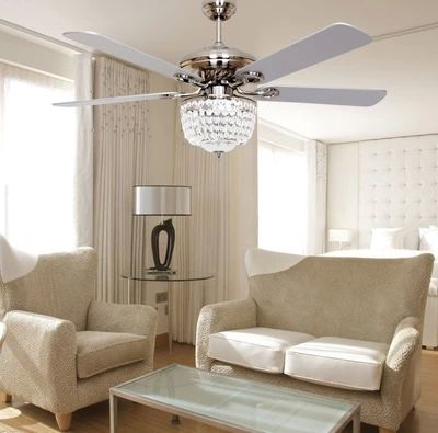 European minimalist fashion fan ceiling fan light LED crystal  modern style