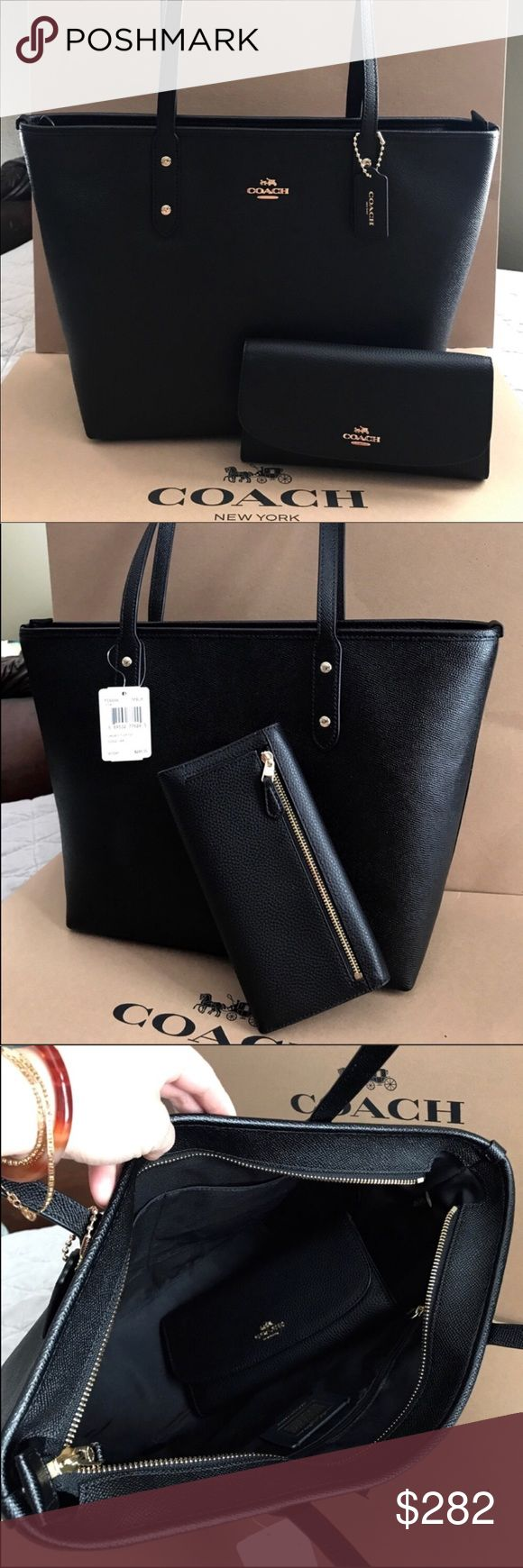 🍀Coach Set🍀 100% Authentic Coach Tote Bag and Checkbook Wallet, both brand new with tag!😍😍😍 Coach Bags Totes
