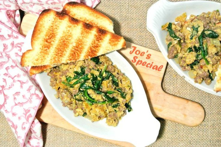 Joe's Special -- ground beef, spinach and egg scramble, is savory, satisfying and has been a staple on every Joe's menu in the San Francisco Bay Area.