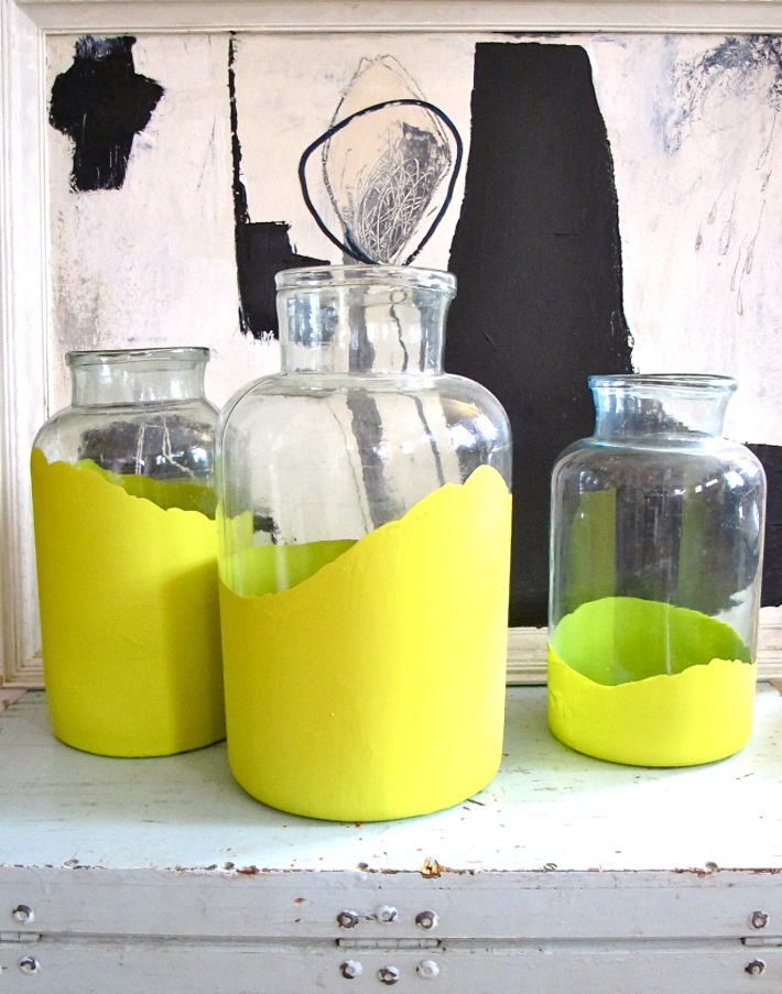 painted jars - decor - yellow