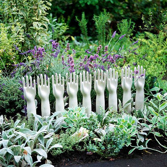 Fill gloves with concrete, peal off! Cute addition to any garden or flowerbed! Paint them different colors to add extra pop to your Landscaping…
