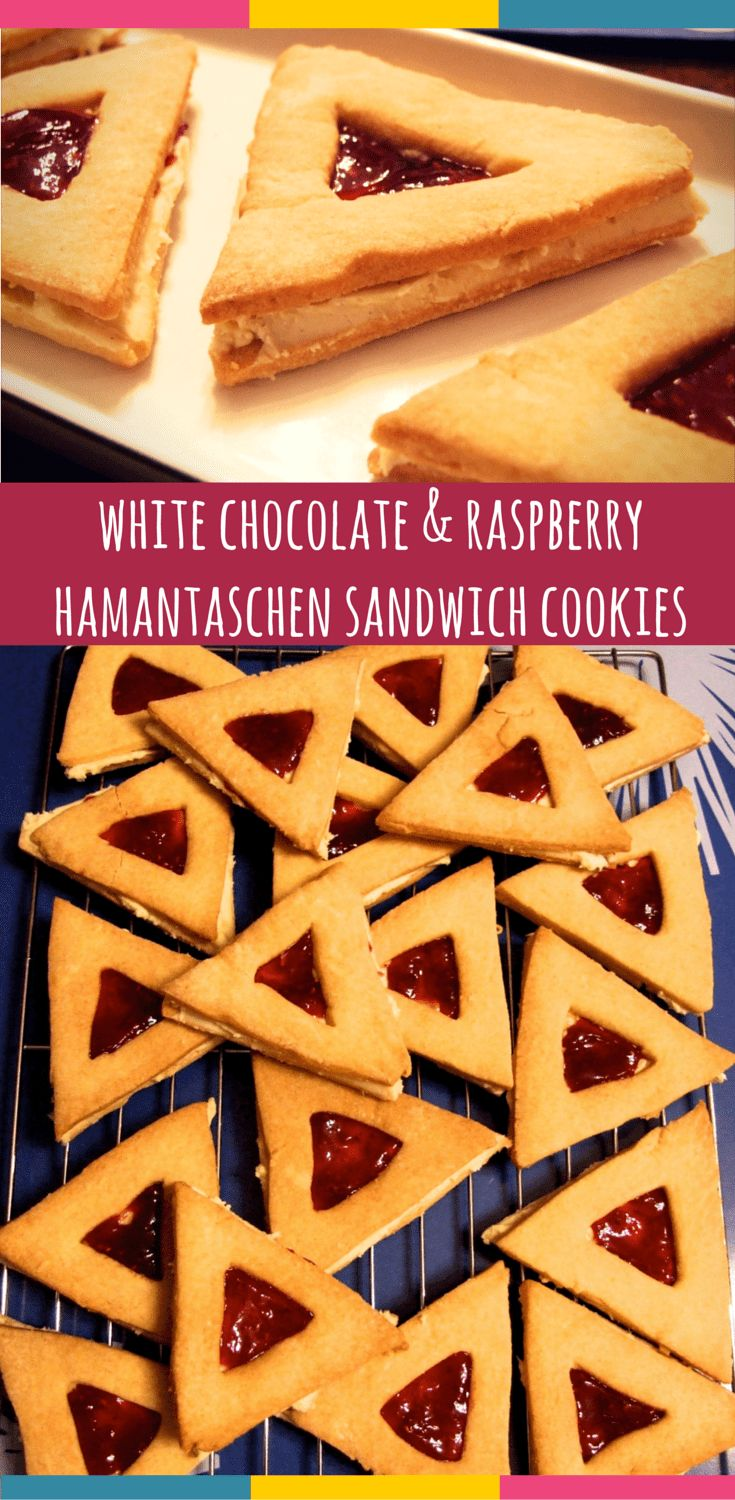 Crisp hamantaschen-shaped vanilla cookies sandwiched together with creamy white chocolate ganache & raspberry jam. A delicious way to celebrate Purim! #jewish #hamantaschen #purim
