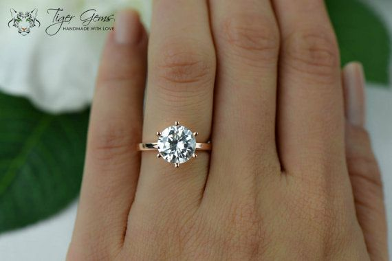 3 Carat Engagement Ring, Rose Solitaire Ring, Man Made Diamond Simulant, 6 Prong Wedding Ring, Bridal Ring, Promise Ring, Sterling Silver
