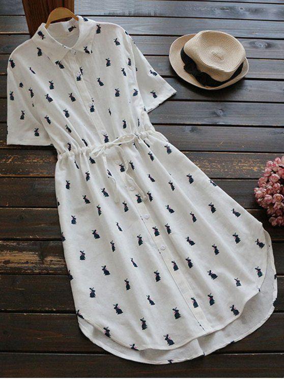$19.99 Printed Button Up Drawstring Waist Shirt Dress - PURPLISH BLUE ONE SIZE
