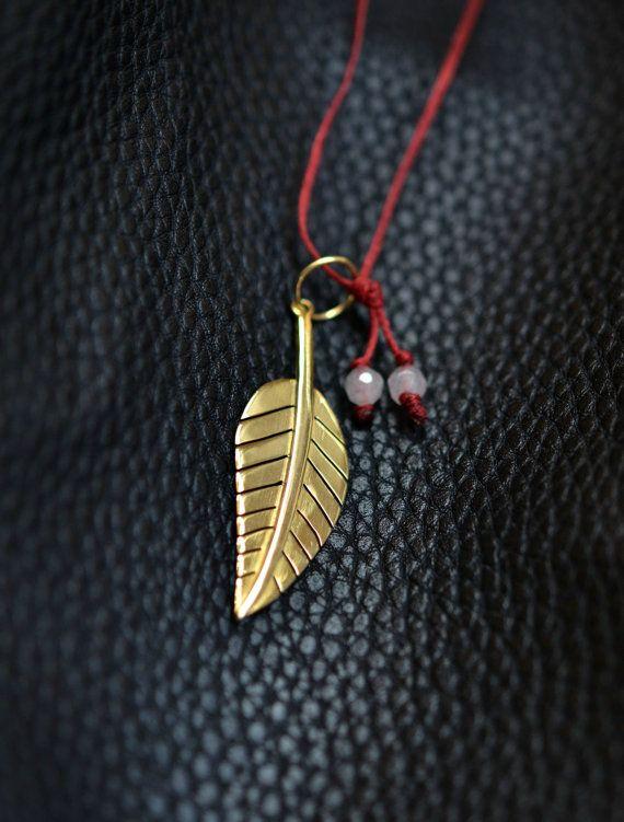 Tobacco Leaf Pendant Solid 18k Gold with quartz by ViazisJewelry