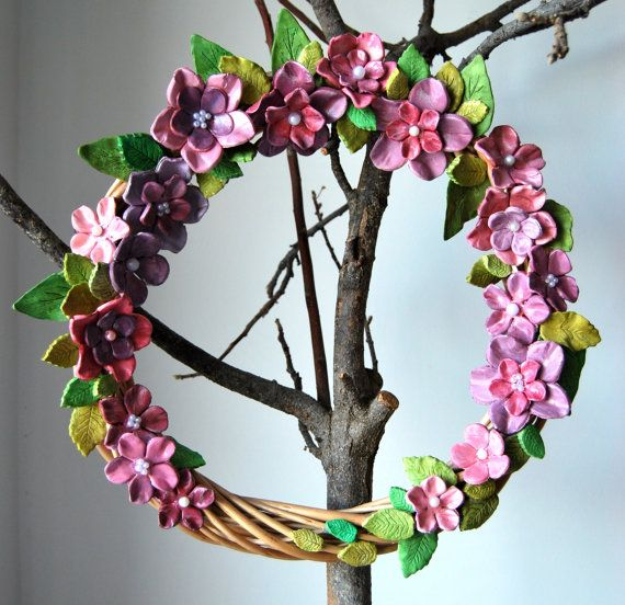 big wreath 43cm with ceraminc  flowers non toxic, acrylic, eco paint and varnish.