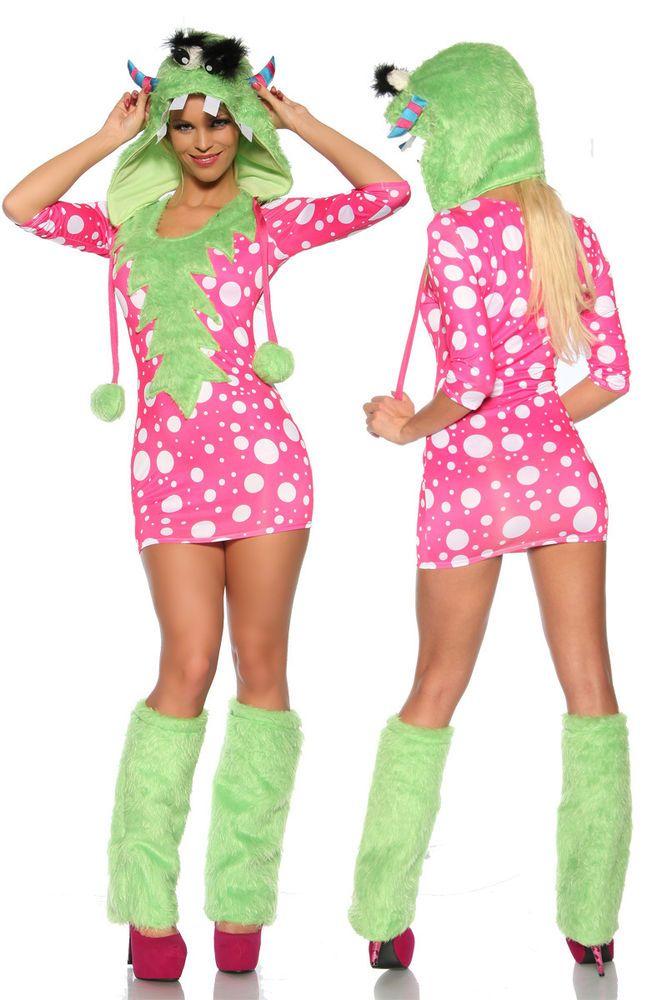Sexy Monster Damen Mädchen Kostüm Tierkostüm Karneval Fasching pinkfarbenes Mini