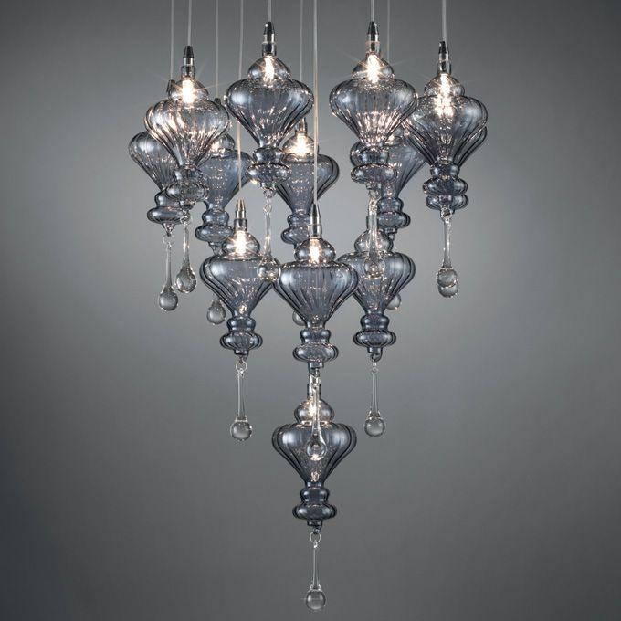 LAMPADARIO 'CLEAR' O1191 Lampadario in vetro. Dimensioni: 45x150 h. cm.  Mascagni Casa