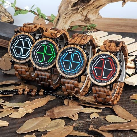 Men's Colorful Digital LED Wooden Watch - Red,White,Blue,Green  men style internet unique products shops fashion for him Wood band awesome accessories gift ideas beautiful guys dads outfit boxes pictures man gifts casual For sale buy online Shopping Websites AuhaShop.com