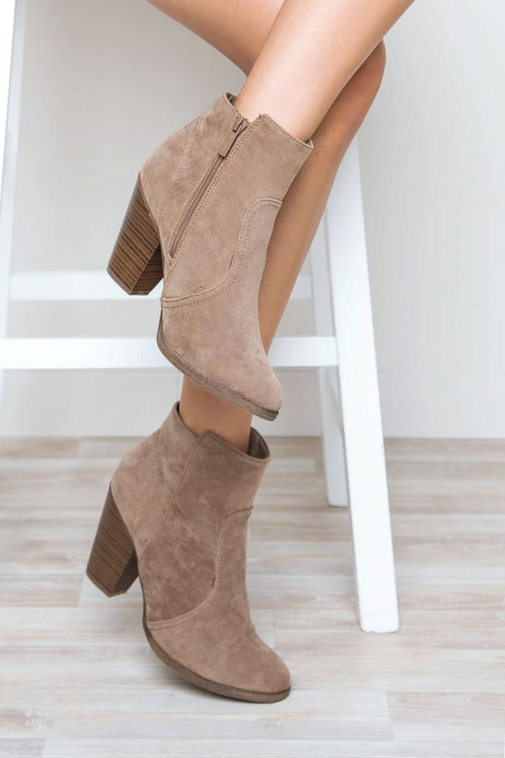 You look like you could use a new pair of booties! Improve your day and your shoe closet with this perfect pair of Roberta Booties in taupe! Featuring a faux suede material, side-zip closure, stacked
