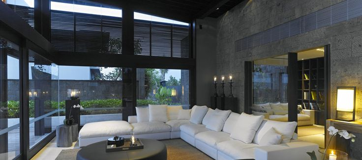 modern architecture - scda architects - alila villas soori - tanah lot - bali - ten-bedroom residence - interior view - living room