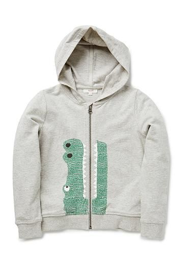 100% cotton french terry zip up hoddie with front croc print and side pockets