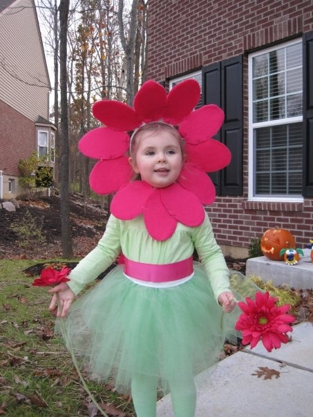 DIY flower costume - I don't like the big flower thing around the face, but the green tutu and tights is an idea I've been thinking of. Color waist up.