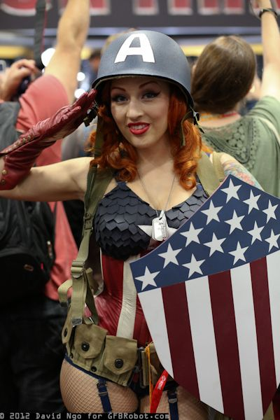 Sexy captain america babe with gorgeous red hair
