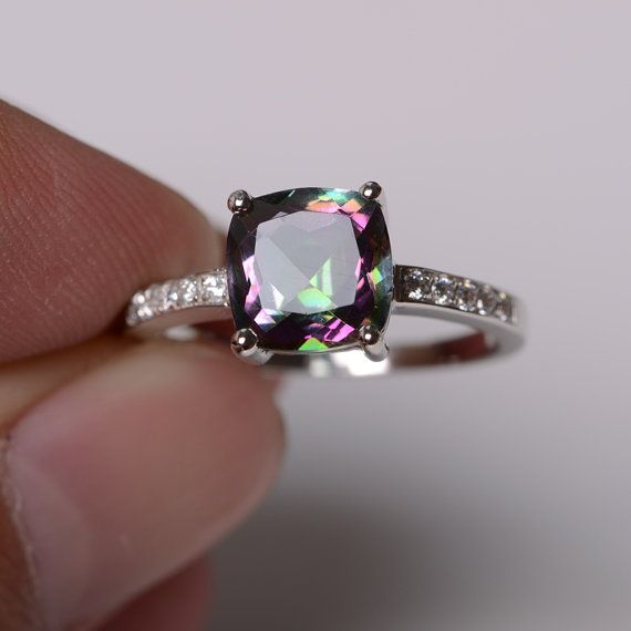 Mystic topaz ring sterling silver ring engagement by KnightJewelry