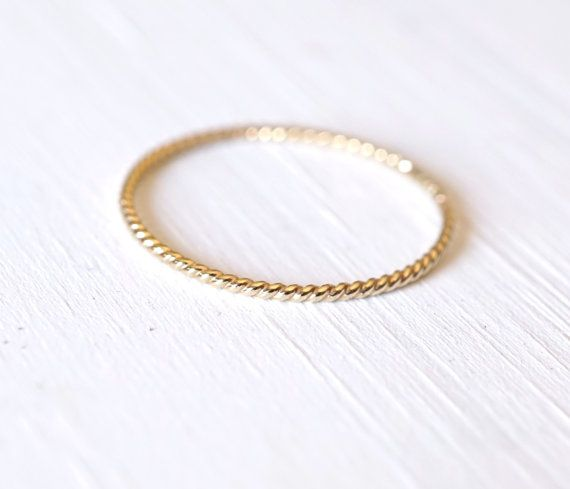 Gold Rope Ring 14k Gold Ring Nautical Ring Twist Ring by Luxuring