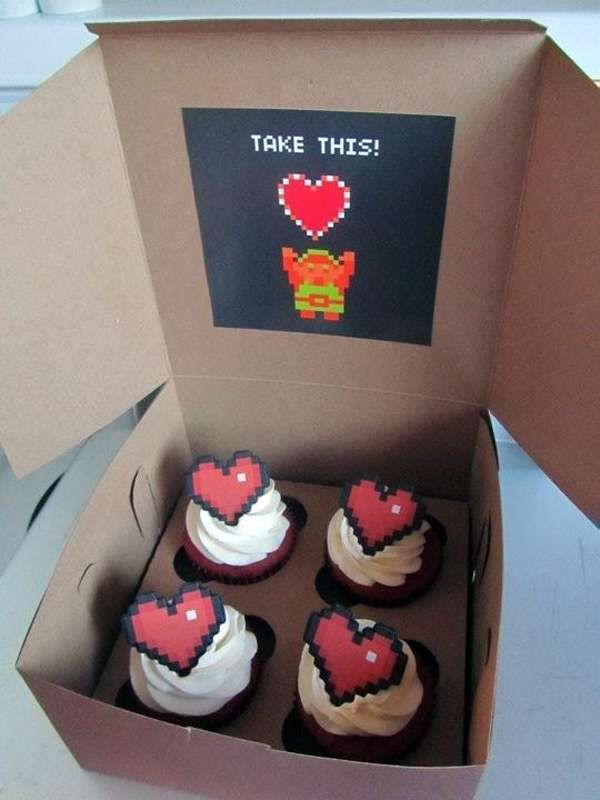 Geeky Gamer Desserts - These Zelda cupcakes are an adorably vintage-themed dessert with subtle references to the epic game.   The cupcakes themselves are made with red ve...
