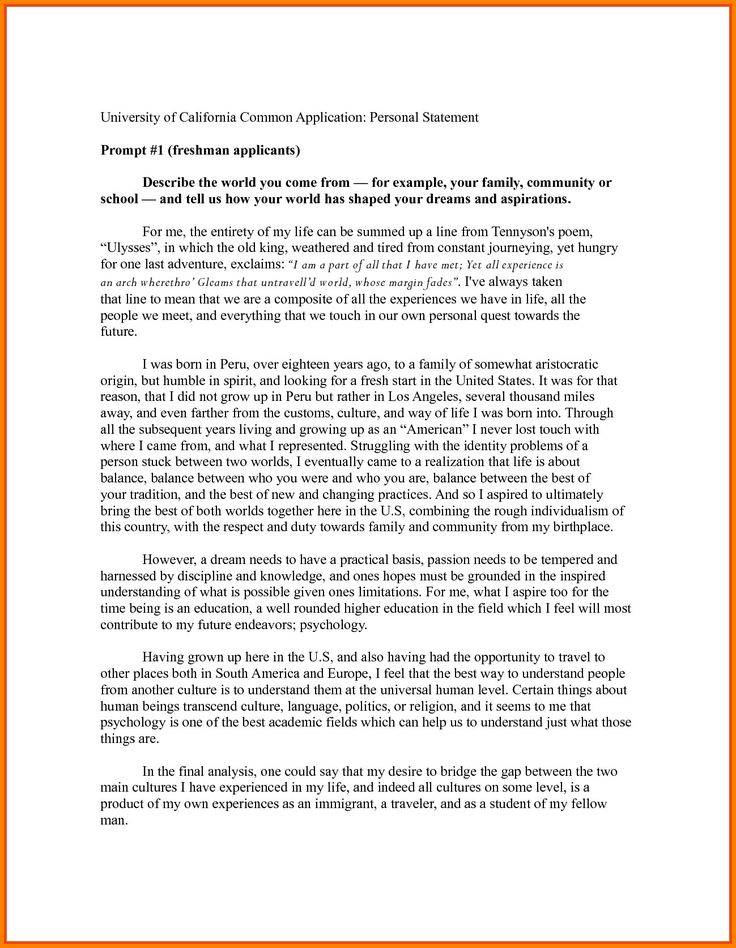 Personal Statement Template for College Best Of 8 Personal