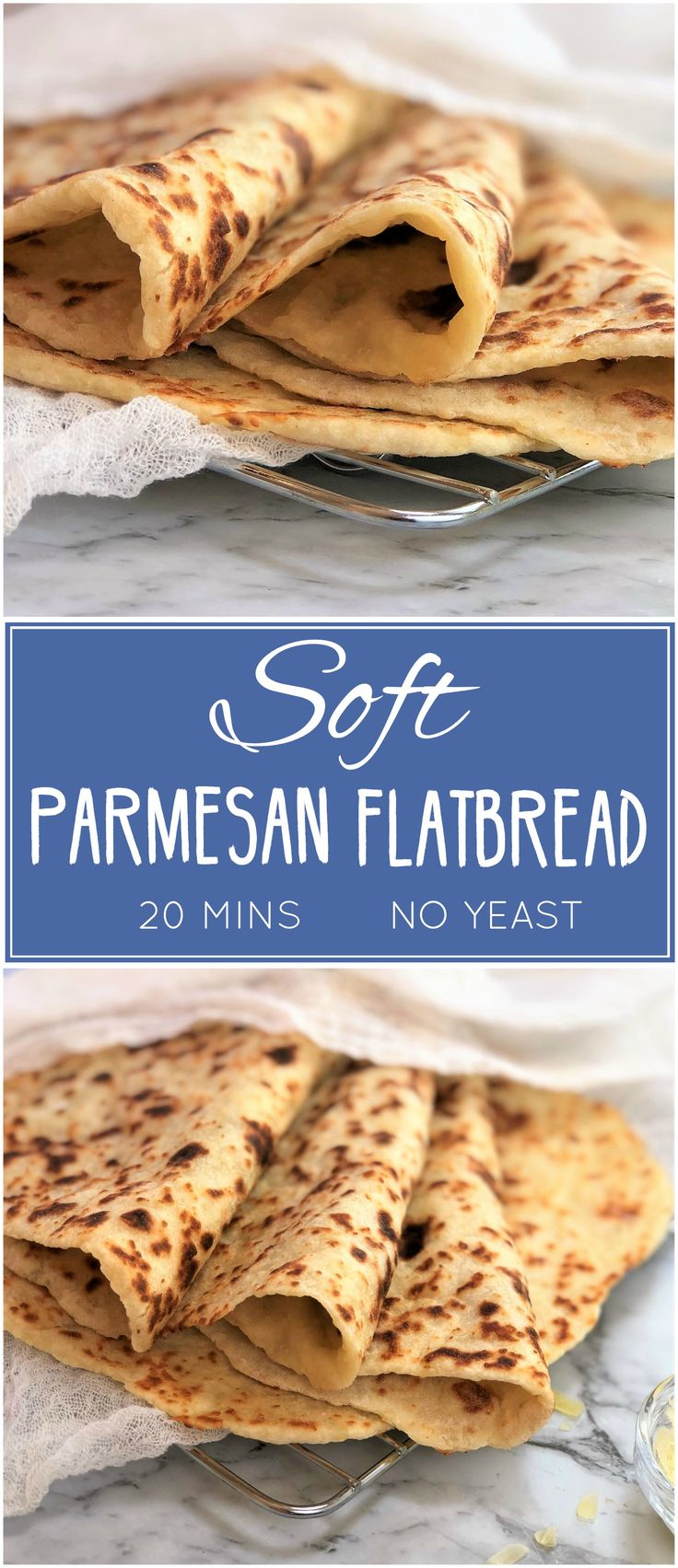 Soft parmesan flatbread - no yeast & all done in 20 mins