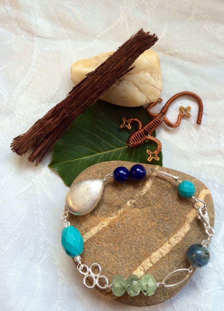 Blue themed natural gemstone bracelet #design #unique #jewellery #handmade #GGJewellery