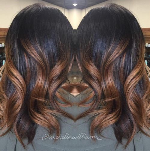 black+hair+with+caramel+ombre+highlights