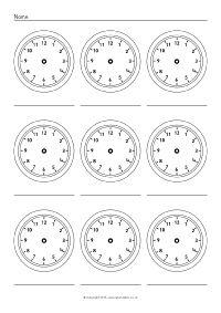 More Blank Clock Worksheets (SB11479) - SparkleBox