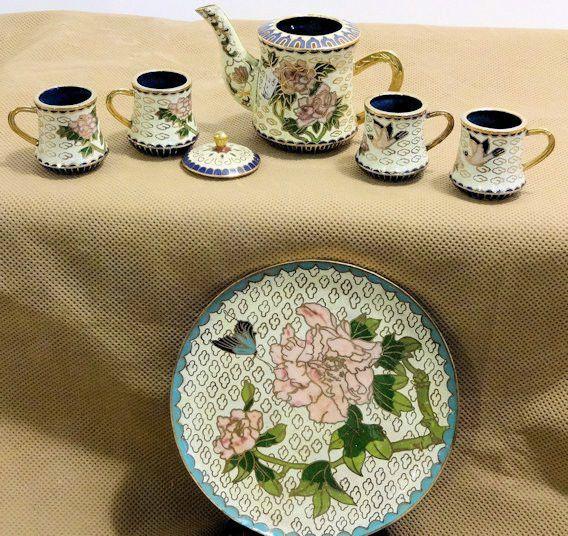 Cloisonne Tea Set Different Styles with Gold Trim