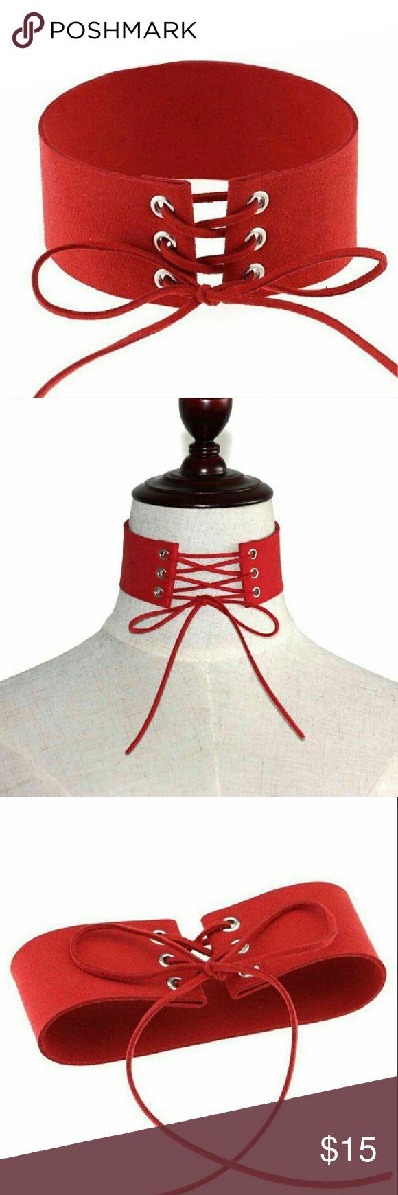 Vintage Punk Red Leather Laceup Choker Necklace Women Punk Necklace Velvet Laceup Gothic Choker Vintage Leather Red Jewelry Jewelry Necklaces