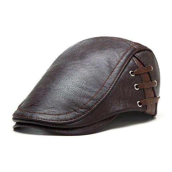 Men PU Leather Lace-up Beret Caps Casual Outdoor Winter Warm Windproof Duck Hats Adjustable Caps
