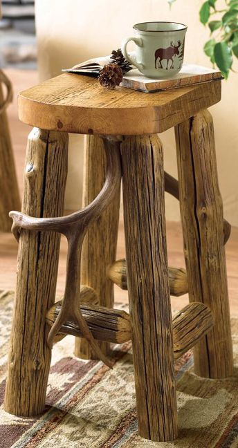 Rustic Log Bar Stool...... cool idea for putting those old sheds and small buck antlers to use.