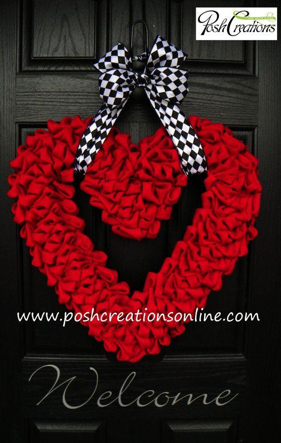 ONLY 2 Left!! Valentines XOXO Heart Wreath Valentines Day by poshcreationsKY, $105.00