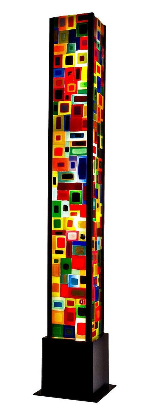 """""""Carnival Floor Lamp""""  Art Glass Floor Lamp by Helen Rudy. Four '' Carnival'' style glass panels create this beautiful and stunning light tower. Each panel is 6''W x 48''H. The panels are sandblasted to diffuse the light creating a wonderful glow of colors. The light tower frame was designed by the artist and is also hand made."""