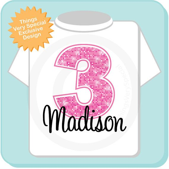 Third Birthday Shirt Pink 3 Birthday Any Age by ThingsVerySpecial
