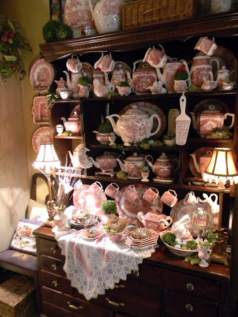 My Kitchen Hutch with Spring Decor!!! Bebe'!!! Transferware dishes decorated with Easter Bunnies And Nests for Easter!!!