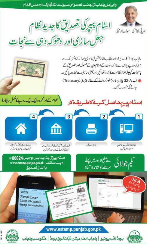 Online Stamp Paper & 32A Challan form by Punjab