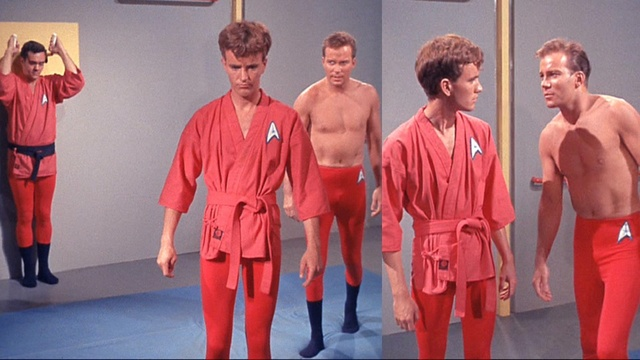 """Charlie X"". Everybody else in the Enterprise gym wears those karate gis, but not Kirk. He's teaching Charlie about manhood, so he wears just the red tights and funny blue socks. How great is it that Kirk's tights have an insignia on them?"