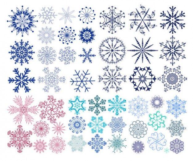 una variedad de material de copo de nieve gráficos vectoriales
