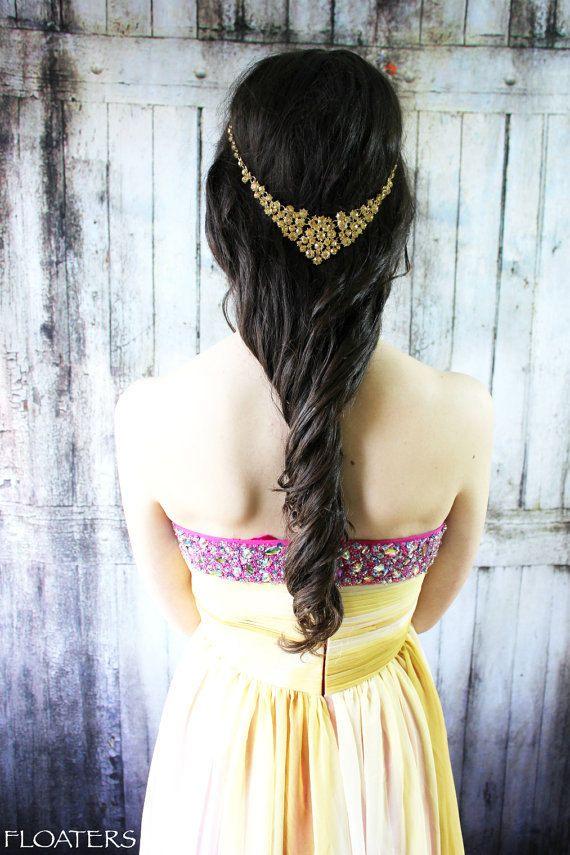 Boho headband Gold Headpiece Coachella Hair by HairFloaters