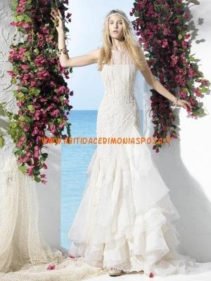 sirena applique stile moderno di design organza abito da sposa 2013