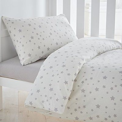 Silentnight Safe Nights Cot Bed Duvet Cover & Pillowcase Set, Grey Stars: Amazon.co.uk: Baby