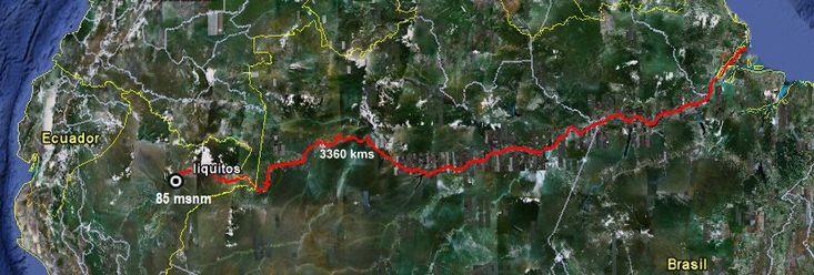 El río Amazonas baja 85 metros en 3.646 kms de recorrido, desde Iquitos hasta el Atlántico.
