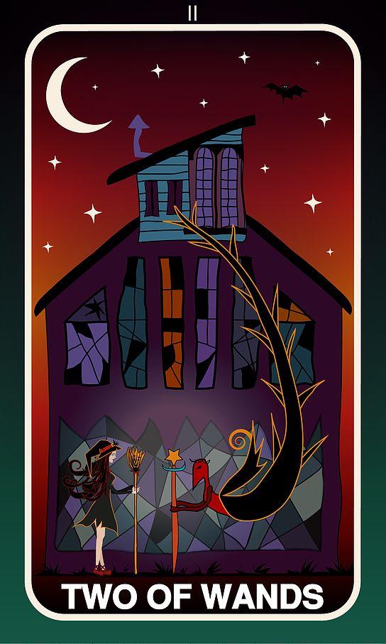 Tarot Card, Two of Wands  #wands #witch #gothic #illustration #tarotdeck #children #tales #city #adventure #magic