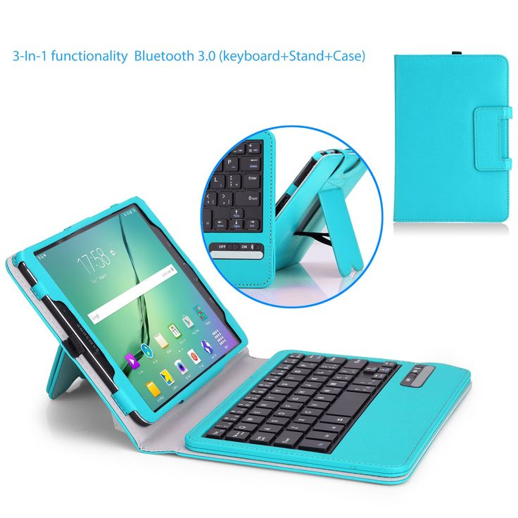 MoKo Samsung Galaxy Tab S2 8.0 Case - Wireless Bluetooth Keyboard Cover Case for for Samsung Galaxy Tab S2 8.0 inch Tablet, Light BLUE