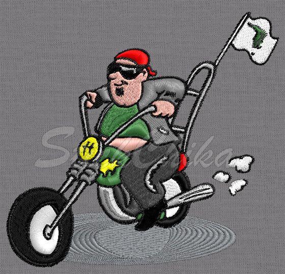 Stickmuster Stickdatei Motorrad Biker von StickChika auf DaWanda.com