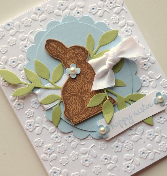 """handmade Happy Easter card (*bunny silhouette from Stampin' Up set """"Ears to You"""") ~ this would be very cute framed! 