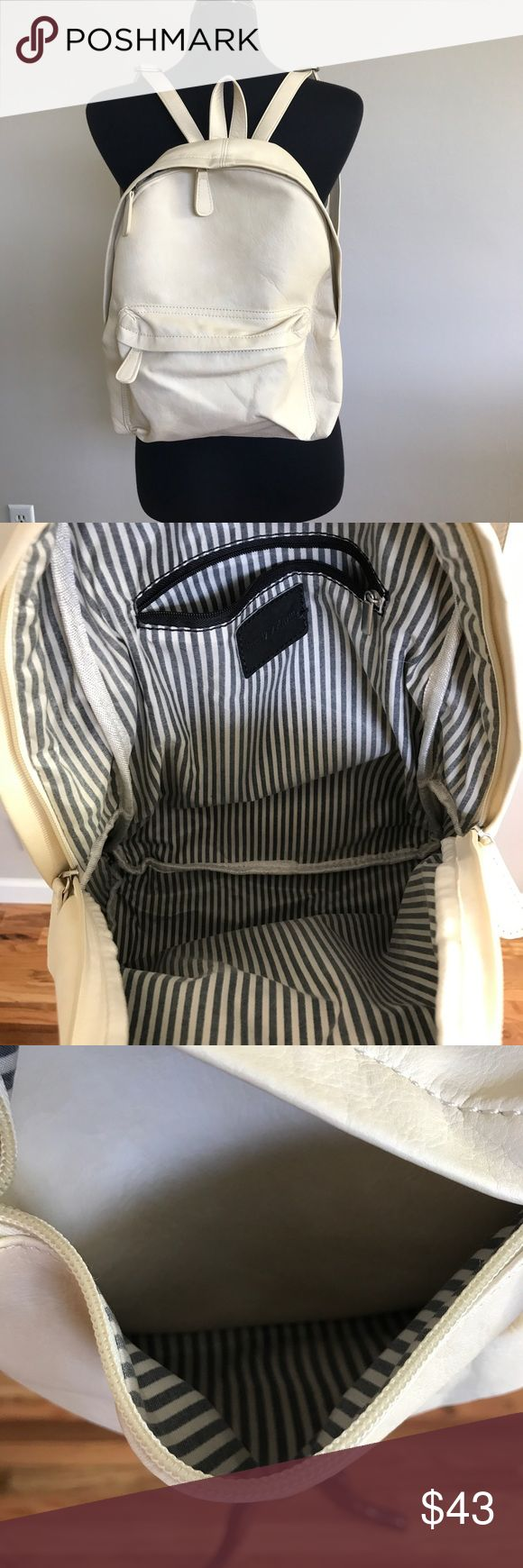 Brandy Melville Cream Backpack Soft Faux Leather Brandy Melville Cream Backpack Soft Faux Leather. Excellent used condition, like new. Gray and white Striped Inner lining, no stains. Inner zip pocket. 14x 11x 3.5. Straps are adjustable. Brandy Melville Bags Backpacks