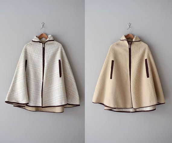 1960s Woollcott reversible wool cape coat    #mod #1960s #cape #capecoat
