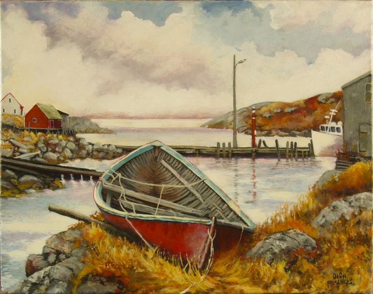 """October  """"Old Trap Boat, Peggy's Cove"""" by Olga Fredericks"""