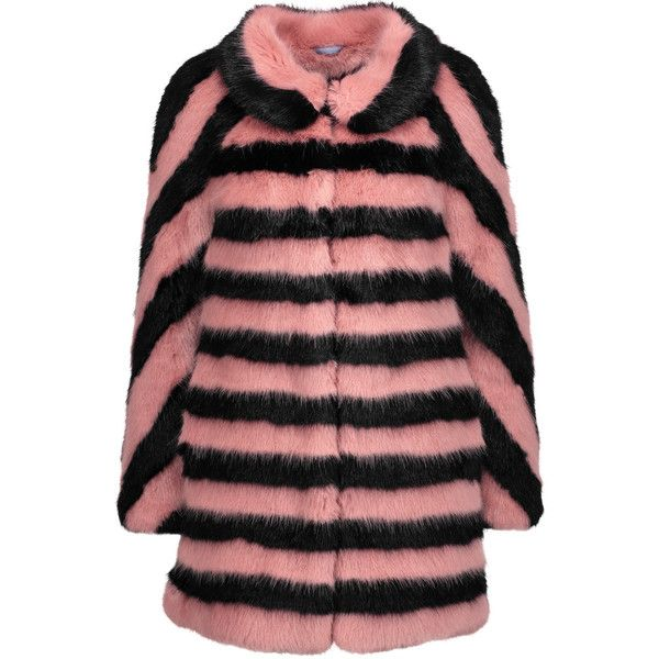 Shrimps Jean striped faux fur coat (£325) ❤ liked on Polyvore featuring outerwear, coats, antique rose, striped faux fur coat, shrimps coat, faux fur coat, fake fur coats and imitation fur coats