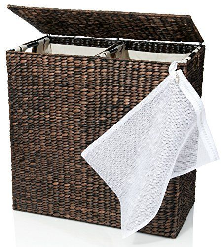Designer Wicker Laundry Hamper with Divided Interior and ...